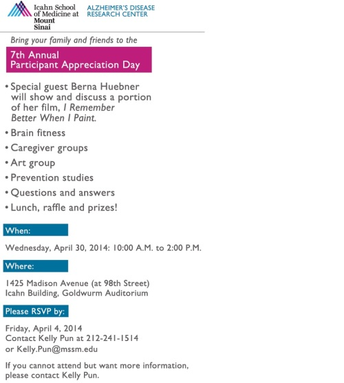 Event on April 30th at Mount Sinai Hospital in New York